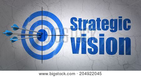 Success business concept: arrows hitting the center of target, Blue Strategic Vision on wall background, 3D rendering
