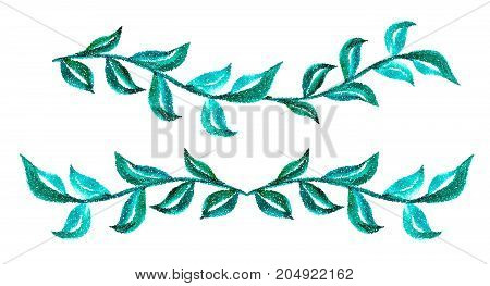 set of Branches with green leaves on a white background for design. Vector illustration EPS10.