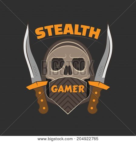 Stealth gamer logo with a skull under face mask and hood and a dirk on both sides.   Gaming profile avatar.