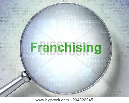 Finance concept: magnifying optical glass with words Franchising on digital background, 3D rendering