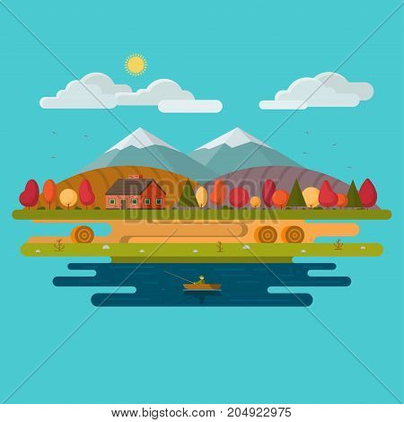 Autumn landscape. A house in nature. Harvest time. Autumn fishing. Flat design vector illustration