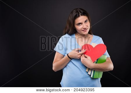 Cute Student Girl Holding Card For Valentine Day