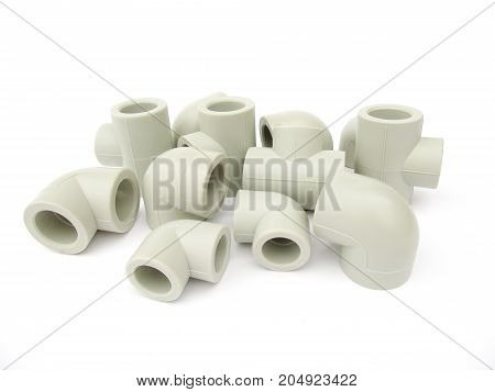 Set of plastic parts for water pipe. Spare parts isolated on white background