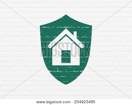Business concept: Painted green Shield icon on White Brick wall background