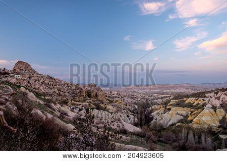 Capadocia Landscape with Uçhisar Castle by sunset
