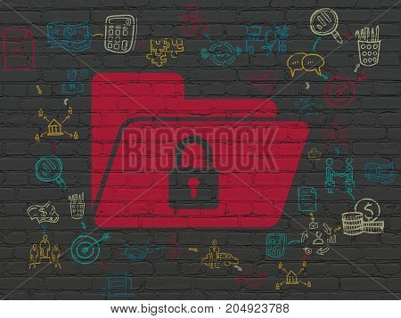 Business concept: Painted red Folder With Lock icon on Black Brick wall background with Scheme Of Hand Drawn Business Icons