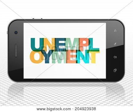 Finance concept: Smartphone with Painted multicolor text Unemployment on display, 3D rendering