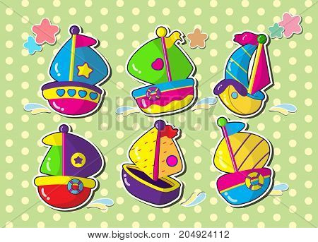 set of sailboat.vector cartoon style sticker.cartoon ship.