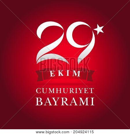 29 ekim Cumhuriyet Bayrami red banner. Vector card illustration 29 ekim Cumhuriyet Bayrami, Republic Day Turkey