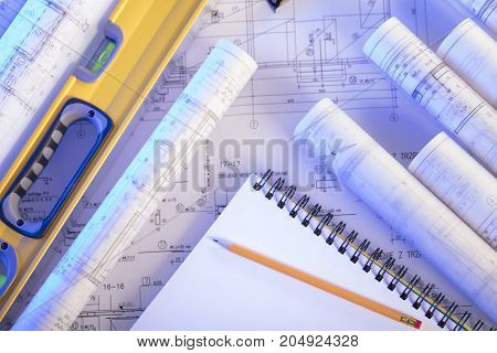 Blueprints and plans. Architecture concept. Workplace of architect.