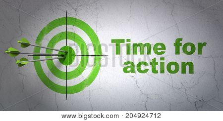 Success time concept: arrows hitting the center of target, Green Time for Action on wall background, 3D rendering