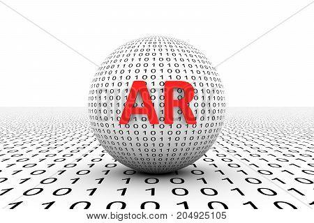 AR conceptual sphere binary code 3d illustration