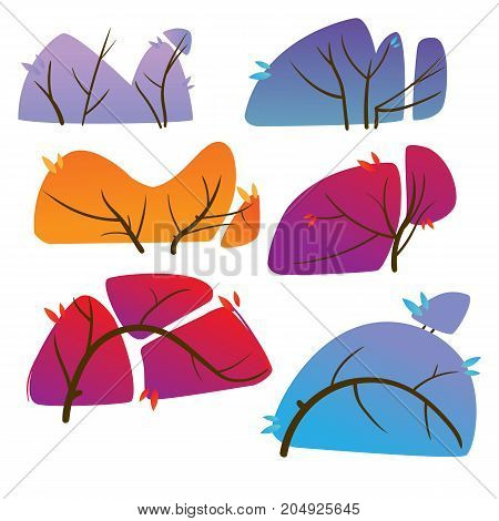 Various multi-colored bushes on white background. Colorful bushes set. Vector illustration in cartoon style