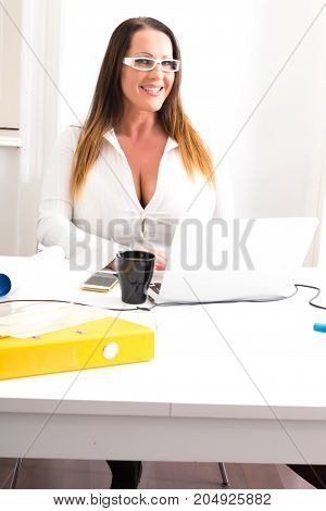 A plus size big and beautiful and voluptuous Secretary working at the Desktop with a Laptop.