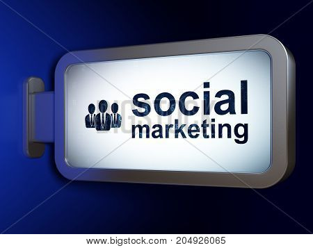 Marketing concept: Social Marketing and Business People on advertising billboard background, 3D rendering