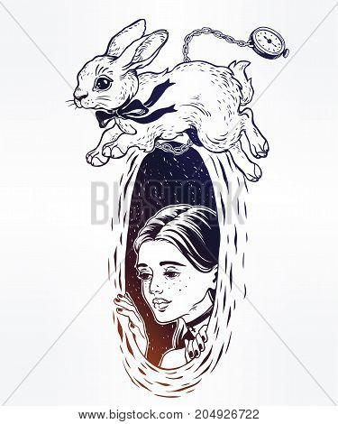 Hand drawn beautiful portrait of a girl Alice in Wonderland. Chasing the white rabbit. Graphic drawing in retro style. Character design, fantasy, surrealism, tattoo art. Isolated vector illustration.