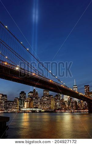 New York City, Usa, September 11, 2017 : Two Huge Blue Lights In The Sky Of Manhattan Are A Tribute