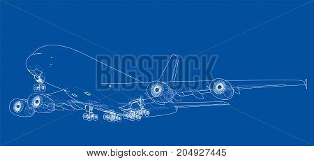 Passenger aircraft. Vector rendering of 3d. Wire-frame style. The layers of visible and invisible lines are separated