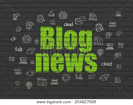 News concept: Painted green text Blog News on Black Brick wall background with  Hand Drawn News Icons
