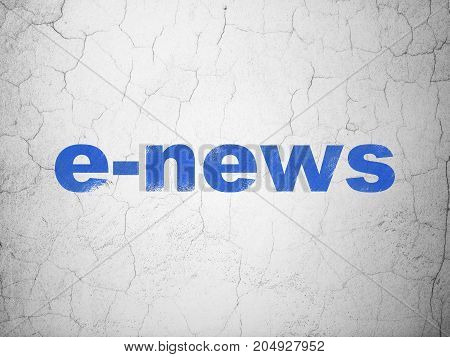 News concept: Blue E-news on textured concrete wall background
