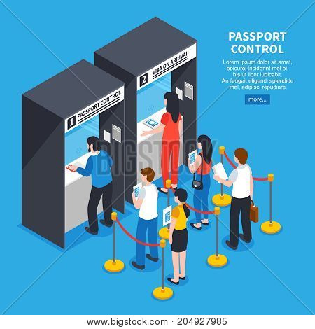 Visa center interior with applicants queue and documents isometric vector illustration