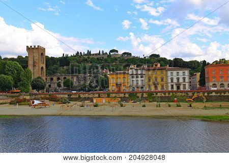 Porta San Niccolo and Piazzale Michelangelo on the south bank of the River Arno