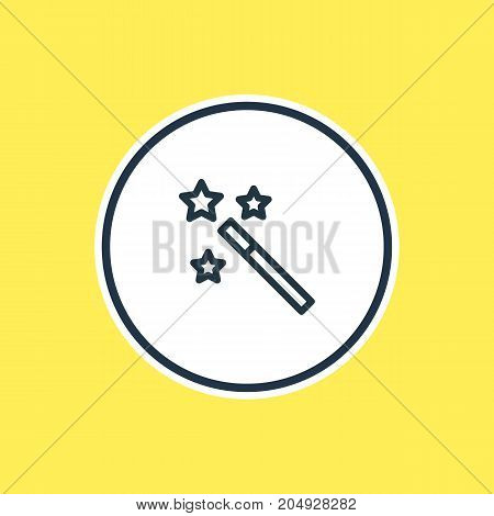 Beautiful Joy Element Also Can Be Used As Wizard Stick Element.  Vector Illustration Of Magic Wand Outline.