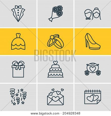 Editable Pack Of Engagement, Bridal Bouquet, Calendar And Other Elements.  Vector Illustration Of 12 Wedding Icons.