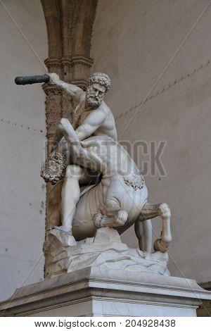 Statue of Hercules killing the Nesso Centaur in Piazza della Signoria in Florence Italy.