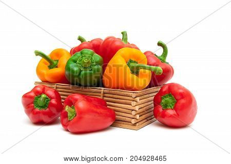 Sweet pepper of different colors isolated on white background. Horizontal photo.