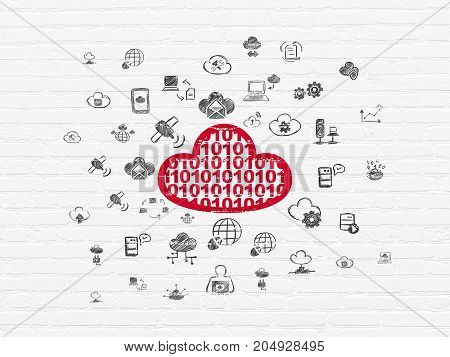 Cloud networking concept: Painted red Cloud With Code icon on White Brick wall background with  Hand Drawn Cloud Technology Icons
