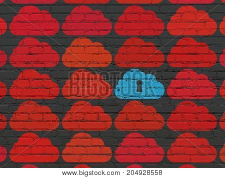 Cloud technology concept: rows of Painted red cloud icons around blue cloud with keyhole icon on Black Brick wall background