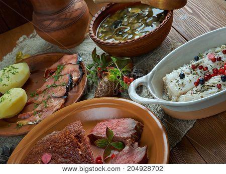 Scandinavian cuisine. Traditional assorted Scandinavian dishes Top view. Northern European food