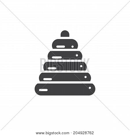 Ring stacker icon vector, filled flat sign, solid pictogram isolated on white. Symbol, logo illustration