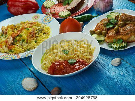 Mediterranean cuisine. Traditional assorted Mediterranean dishes Top view.
