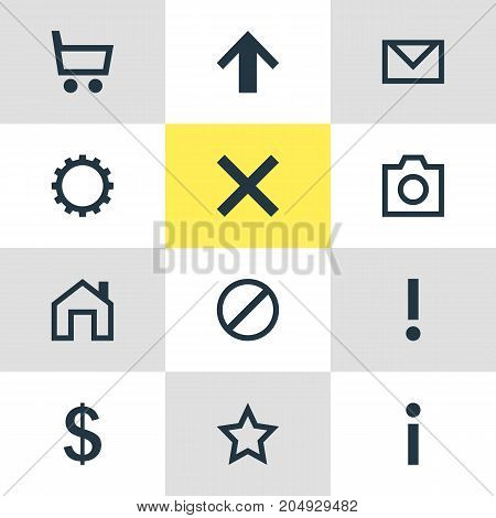Editable Pack Of Info, Mainpage, Alert And Other Elements.  Vector Illustration Of 12 Interface Icons.