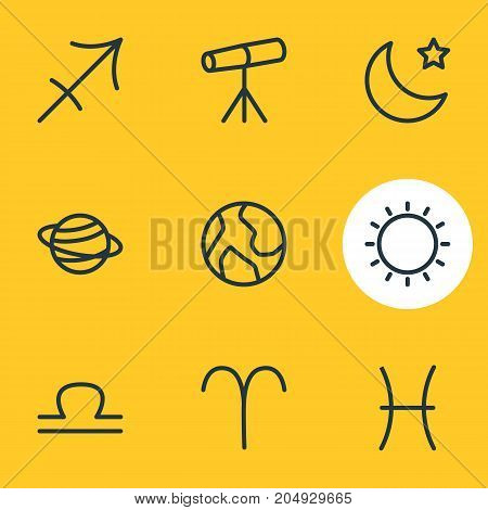 Editable Pack Of Sunny, Fishes, Archer And Other Elements.  Vector Illustration Of 9 Astrology Icons.