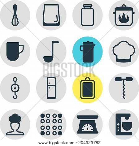 Editable Pack Of Stewpot, Corolla, Soup Spoon And Other Elements.  Vector Illustration Of 16 Cooking Icons.
