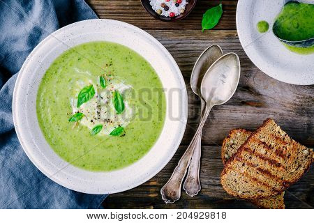 Green Vegetable Cream Soup Puree With Leek And Basil
