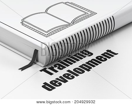 Learning concept: closed book with Black Book icon and text Training Development on floor, white background, 3D rendering