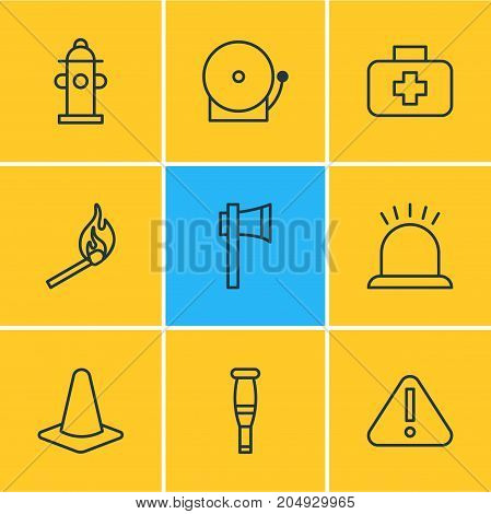 Editable Pack Of Siren, Alarm, Exclamation And Other Elements.  Vector Illustration Of 9 Necessity Icons.