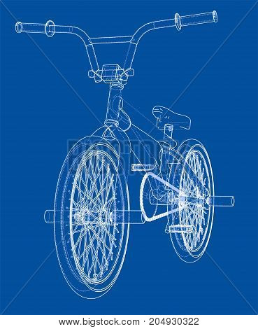 Bicycle bmx. Vector rendering of 3d. Wire-frame style. The layers of visible and invisible lines are separated
