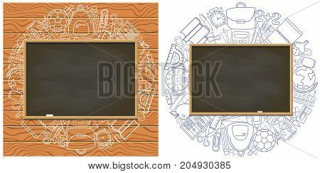 Empty chalkboard on school supplies background. Blank blackboard background. Back t school concept vector banner. Write your text template.