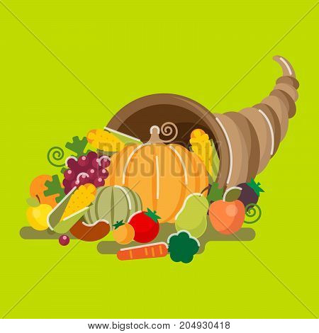 Cornucopia horn of plenty a symbol of abundance and nourishment. Large horn shaped container overflowing with vegetables, fruits, corn and berries.