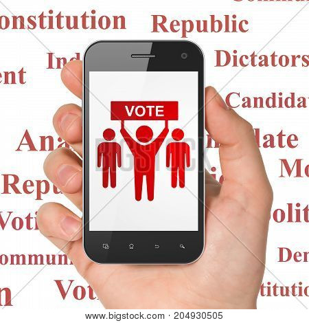 Politics concept: Hand Holding Smartphone with  red Election Campaign icon on display,  Tag Cloud background, 3D rendering