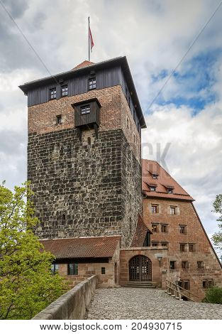 Tower and building of former imperial stables near Nuremberg castle Germany