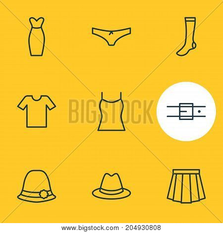 Editable Pack Of Hosiery, Singlet, Panties And Other Elements.  Vector Illustration Of 9 Garment Icons.