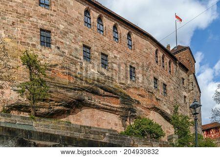 Building on rock in Nuremberg castle Germany