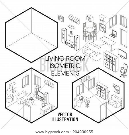 Isometric Living Room Vector Photo Free Trial