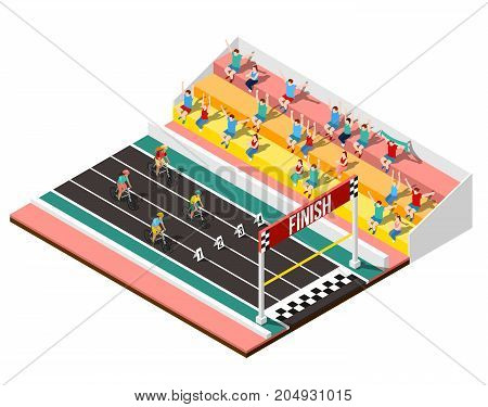 Cycling design concept with isometric fragment of stadium fans and athletes approached to finish line vector illustration